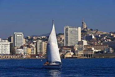 Sailboat, port, Marseille, Provence Cote d'Azur, France, Europe