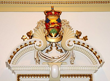 Wall decoration in the lobby of the parliament building, Hotel du Parlement, Quebec City, Canada, North America
