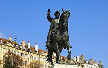 Mounted statue of Guillaume-Henri Dufour, Geneva, Switzerland, Europe