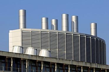 Industrial architecture, roof of Swiss Federal Institute of Technology, Eidgenoessische Technische Hochschule Lausanne, ecole Polytechnique Federale de Lausanne, EPFL, Lausanne, Switzerland, Europe