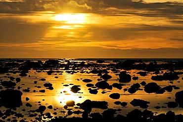 Sunset off the coast at Sand Point, Olympic National Park, Washington, USA, North America