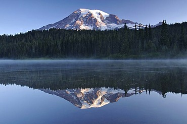 Mount Rainier reflected in a lake, Mount Rainier National Park, Washington, USA, North America
