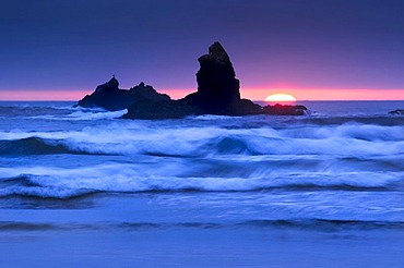 Solidified lava rock, monolith, rock formation at Cannon Beach, Clatsop County, Oregon, USA, North America