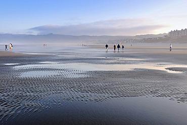 Tourists at Cannon Beach, Clatsop County, Oregon, USA, North America