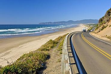 Road along Netarts Bay, Cape Lookout State Park, Oregon, USA, North America