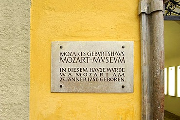 Marble inscription at the Mozart Museum, Mozart's Birth House, Getreidegasse, Salzburg, Austria, Europe
