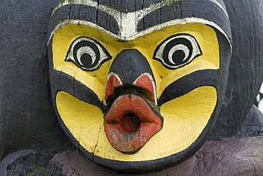 Face on a Native American totem pole, detail, Royal BC Museum, Victoria, Vancouver Island, British Columbia, Canada, North America