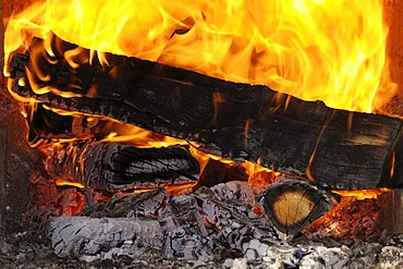 Wood fire, blazing, red hot logs, large flames