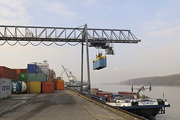 Port of Bonn, bimodal handling, gantry crane loading a container onto an inland navigation container ship, Magic, while docked on the quay, North Rhine-Westphalia, Germany, Europe