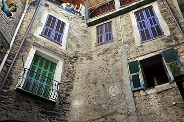 Inner courtyard of a bed and breakfast hotel in Dolceacqua, Liguria, Riviera dei Fiori, Italy, Europe
