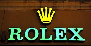 Rolex logo, neon sign