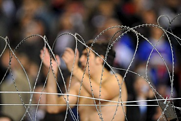 Fans of Partizan Belgrad behind barbed-wire fence in the fan block of the Mercedes Benz Arena, Stuttgart, Baden-Wuerttemberg, Germany, Europe