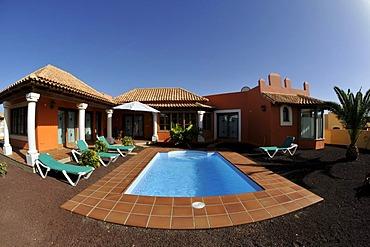 Fish-eye shot, bungalow villa with a swimming pool, Corralejo, Fuerteventura, Canary Islands, Spain, Europe