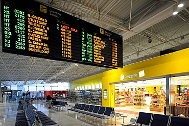 Duty-Free Shop and a departure board in the waiting area at a boarding gate, Fuerteventura Airport, Canary Islands, Germany, Europe
