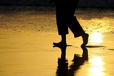Legs walking along a beach, backlighting, near El Cotillo, Fuerteventura, Canary islands, Spain, Europe