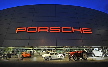 Night shot of Porsche headquarters, Zuffenhausen, Stuttgart, Baden-Wuerttemberg, Germany, Europe