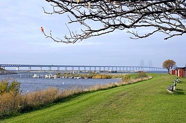 Panorama of Oresund Bridge between Sweden and Denmark from the Swedish side near Lernacken, Sweden, Europe