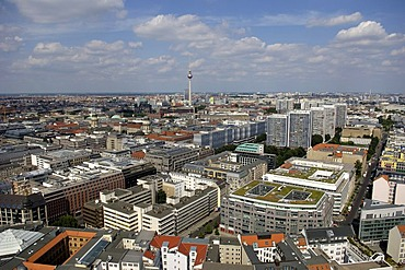 Aerial photograph over Berlin with Fernsehturm, television tower, Berlin, Germany, Europe