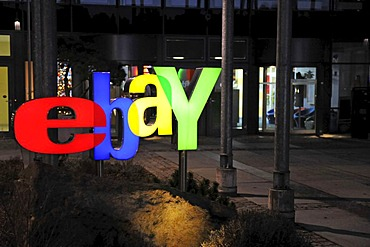 Illuminated ebay logo at night, at the main entrance of the German headquarters in Kleinmachnow near Berlin, Germany, Europe