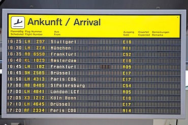 Arrivals display at Berlin-Tegel Airport, Berlin, Germany