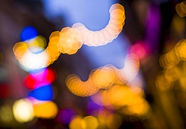 Shopping street in the evening, blurred, Den Haag, Netherlands, Europe