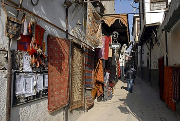 Carpet shop in the historic city centre of Damascus, Syria, Middle East, Asia
