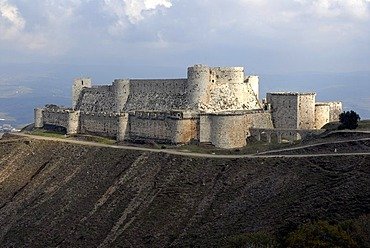 Crusader fortress Krak des Chevaliers, Syria, UNESCO World Heritage Site, Middle East, Asia
