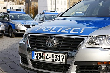 New blue police cars for the North Rhine-Westphalian police, Duesseldorf, North Rhine-Westphalia, Germany, Europe