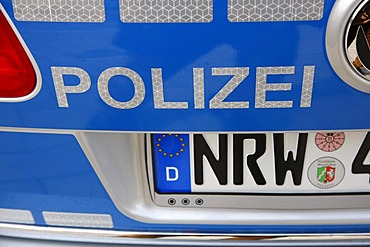 New blue police car for the North Rhine-Westphalian police, Duesseldorf, North Rhine-Westphalia, Germany, Europe