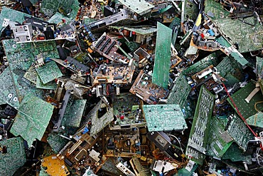 Electronic scrap, sorted used computer parts from discarded computers, at a recycling yard, Germany