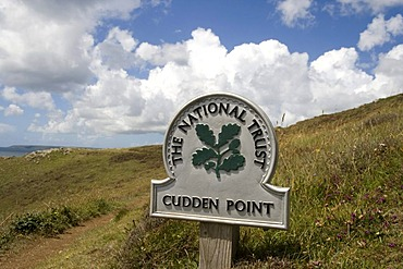 National Trust sign in front of Cudden Point, coast near Perranuthnoe and Porthleven, Cornwall, Great Britain, Europe