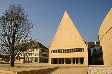 Liechtensteiner Landtag next to the Liechensteinische Landesbank, left, Vaduz, Liechtenstein, Europe