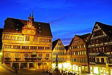 Market square with City Hall and Neptune Fountain, Tuebingen, Baden-Wuerttemberg, Germany, Europe