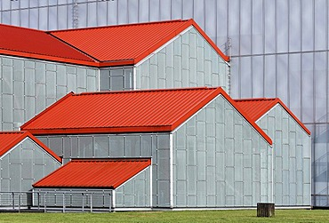 Green houses with red tin roofs, building protecting the large baths, new Roman museum, Xanten archaeological park, APX, Lower Rhine region, North Rhine-Westphalia, Germany, Europe