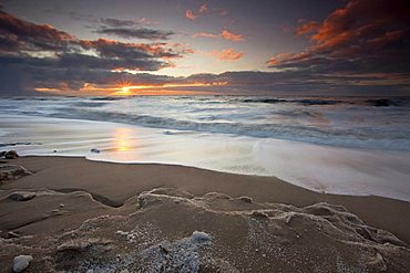 Sunset over the beach in Westerland on the island of Sylt, Schleswig-Holstein, Germany, Europe