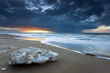 Ice floe on the beach in Westerland on the island of Sylt, Schleswig-Holstein, Germany, Europe