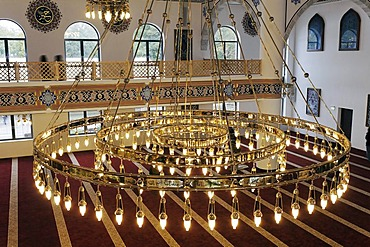 Large, golden chandelier, DITIB-Merkez-Mosque, newly built in the Ottoman style, one of the largest mosques in Germany, Duisburg-Marxloh, Ruhr Area, North Rhine-Westphalia, Germany, Europe