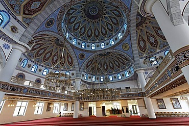 DITIB-Merkez-Mosque, interior view, newly built in the Ottoman style, one of the largest mosques in Germany, Duisburg-Marxloh, Ruhr Area, North Rhine-Westphalia, Germany, Europe