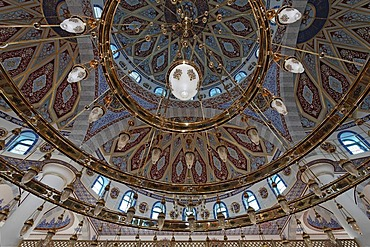 Interior view of the dome of the DITIB-Merkez-Mosque, newly built in the Ottoman style, one of the largest mosques in Germany, Duisburg-Marxloh, Ruhr Area, North Rhine-Westphalia, Germany, Europe