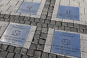 Summer solstice, marks for sundial, metal plates on paved floor, Hoheward waste dump, Herten, Recklinghausen, Ruhr area, North Rhine-Westphalia, Germany, Europe
