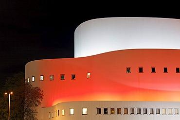 Theatre, colourfully illuminated facade, night shot, Duesseldorf, Rhineland, North Rhine-Westphalia, Germany, Europe
