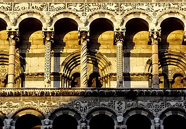 Column fronted Basilica San Michele in Foro, Lucca, Tuscany, Italy, Europe