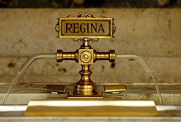 Brass water taps, detail, Tettuccio, thermal spa in an Art Nouveau style, Montecatini Terme, Tuscany, Italy, Europe
