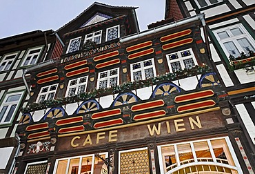 Cafe in a historic frame house, Wernigerode old town, Harz, Saxony-Anhalt, Germany, Europe