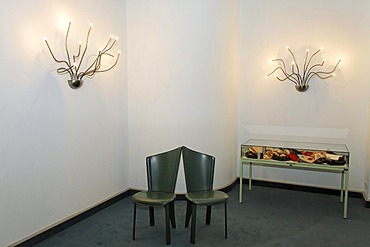 Modern marriage registry room, historic Town Hall of Wernigerode, lamps and chairs in the style of the former GDR, Harz, Saxony-Anhalt, Germany, Europe