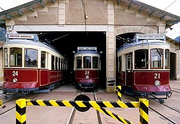 Tram depot in Soller, historical trams, Orange Express, Majorca, Balearic Islands, Spain, Europe