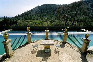La Raixa Gardens, terrace with seat in front of water basins, panorama view, near Bunyola, Serra de Tramuntana mountain range, Majorca, Balearic Islands, Spain, Europe