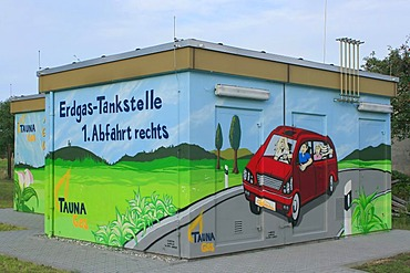 Painted LPG, Liquid Petroleum Gas, distribution point indicating where the next LPG station is, Oberursel, Hesse, Germany, Europe