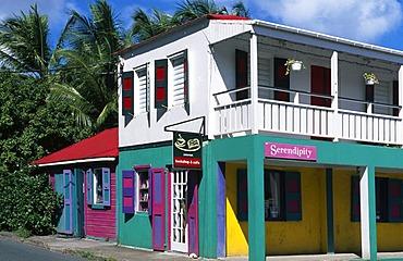 Colourful facade in Roadtown on Tortola Island, British Virgin Islands, Caribbean
