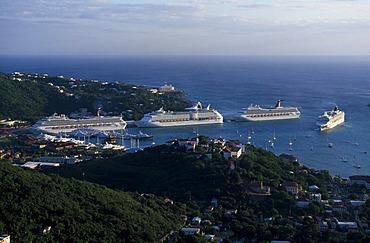 Cruise ships at Charlotte Amalie, St. Thomas Island, United States Virgin Islands, Caribbean